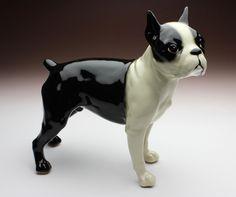Boston Terrier Standing Dog Japanese Porcelain Figurine Standard Size NEW