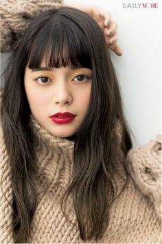 Curly Hair With Bangs, Hairstyles With Bangs, Straight Hairstyles, Curly Hair Styles, Medium Long Hair, Long Hair Cuts, Prity Girl, Japanese Hairstyle, Hair Strand