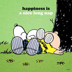 Happiness Is A Nice Long Nap! Snoopy and Charlie Brown #peanuts
