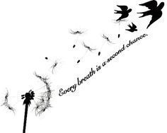 THIS IS ALMOST EXACTLY THE TATTOO I HAVE IN MY HEAD!! not the words... just blowy dandy into birds to go from my shoulder into my tat on under my collar bone. excited.