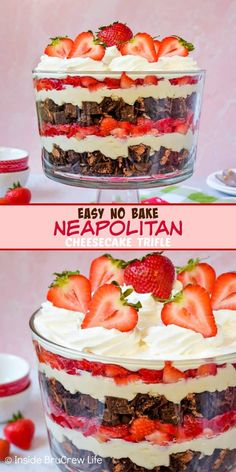 Easy No Bake Neapolitan Cheesecake Trifle - layers of chocolate cakes, no bake vanilla cheesecake, and fresh strawberries makes this trifle a pretty and delicious dessert. Make this easy recipe for summer parties or picnics and watch it disappear. Köstliche Desserts, Delicious Desserts, Dessert Recipes, Layered Desserts, No Bake Vanilla Cheesecake, Cheesecake Recipes, Strawberry Cheesecake Trifle Recipe, Cheesecake Bites, Chocolate Strawberry Desserts