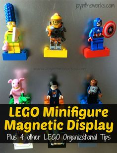 Looking for a simple, but USEABLE way to display Lego Minfigures? Check out this magnetic display board and 4 other Lego organizational tips! Kids Castle, Lego Activities, Toy Organization, Organizing, Lego Craft, Lego Store, Lego Room, Inspiration For Kids, Home