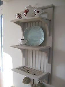 Wooden Plate Rack Shelves Storage Wall Mounted Display White Hooks Chic