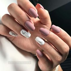 "If you're unfamiliar with nail trends and you hear the words ""coffin nails,"" what comes to mind? It's not nails with coffins drawn on them. It's long nails with a square tip, and the look has. Cute Acrylic Nails, Matte Nails, Fun Nails, Cool Easy Nails, Squoval Acrylic Nails, Marble Acrylic Nails, Blush Nails, Simple Nails, Nail Manicure"