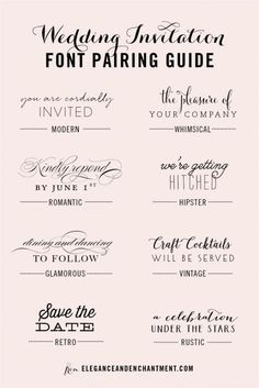 Weddbook is a content discovery engine mostly specialized on wedding concept. You can collect images, videos or articles you discovered  organize them, add your own ideas to your collections and share with other people - Wedding Invitation Font and Pairing Guide from Elegance and Enchantment // Great combinations of script and serif/sans serif typography for any style!