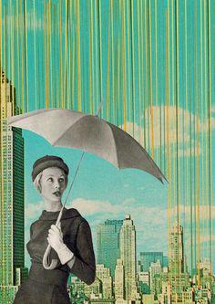 sammy slabbinnck    art / design / collage / illustration / graphic design / retro / new york / rain / umbrella