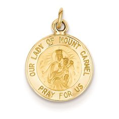 14K Yellow Gold Our Lady of Mount Carmel Medal Charm Pendant. Our Lady Of Mt. Carmel: Many miracles have occurred at Mt. Carmel throughout Biblical history, including Elijah's plea for rain. In the 12th century. Christian hermits lived and prayed atop the mountain, and the appearance of a cloud above was believed to symbolize Mary who brought life to a parched world. Approximate Weight: 0.79 Grams. 14K Yellow Gold. Length: 17 Millimeters. Width: 12 Millimeters. Caring For Your Gold…
