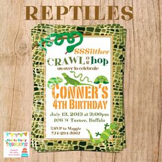 REPTILES invitation  You Print by PrettyPartyCreations on Etsy, $11.50