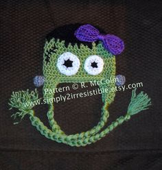 Frankenstein Monster Hat (Crochet Pattern #5) Available in both US and UK terms Newborn to Adult Sizes Included by Simply2Irresistible, $2.99
