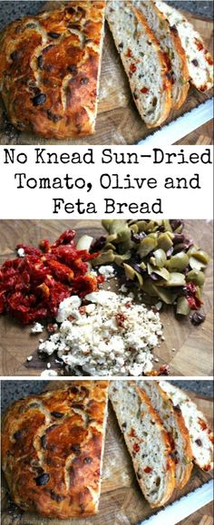 No Knead Sun-Dried Tomato, Olive and Feta Bread - One Hundred Dollars a Month I love the No Knead Dutch Oven Crusty Bread I make, and my family agrees. It's hard not to finish Artisan Bread Recipes, Dutch Oven Recipes, Bread Machine Recipes, Cooking Recipes, Keto Recipes, Easy Recipes, Vegetarian Recipes, Cream Recipes, Dinner Recipes