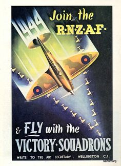 1944 Royal New Zealand Air Force Recruitment Poster Vintage Ads, Vintage Posters, Retro Posters, Vintage Signs, Ww2 Propaganda Posters, Poster Ads, World War Two, Wwii, At Least
