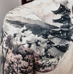 Discover unique architecture ink with the top 50 best Japanese temple tattoo designs for men. Explore cool Buddhist ink ideas and religious buildings. Great Tattoos, Beautiful Tattoos, Tattoos For Guys, Awesome Tattoos, Nature Tattoos, Body Art Tattoos, Sleeve Tattoos, Tatoos, Japan Tattoo