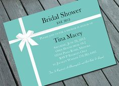 TIFFANY's THEME  Bridal Shower or Bachelorette Invitation: Digital printable file/Printing Available Upon Request on Etsy, $15.00