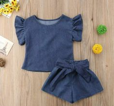 Denim short set OB Off Duty Toddler Girl Dresses, Little Girl Dresses, Girls Dresses, Baby Clothes Patterns, Cute Baby Clothes, Baby Girl Fashion, Kids Fashion, Fashion Outfits, Baby Sewing