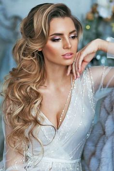 Trendy Long Hair Women's Styles    curls clipped to one side half up half down wedding hairstyles