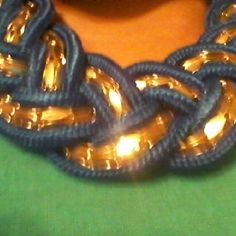 $25 Brand New Fashion Statement Necklace Beautiful Blue Nylon and Gold intertwined rope style, can be worn with versitility year round, feather lightweight comfort! Also Available in Ivory/White and Gold Jewelry Necklaces