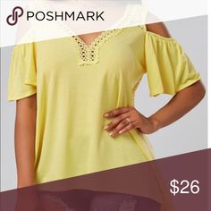 💕 NEW ARRIVAL....... LADIES TOP GORGEOUS V Neck crochet cold shoulder casual TUNIC. Material is polyester/spandex with half sleeve.  BRAND NEW AND NEVER WORN!  (PO-711) Tops Tunics