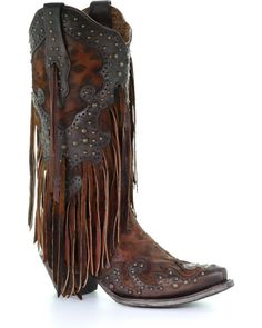 Looking for CORRAL Women's Leopard Stud Fringe Cowgirl Boot Snip Toe ? Check out our picks for the CORRAL Women's Leopard Stud Fringe Cowgirl Boot Snip Toe from the popular stores - all in one. Kids Western Boots, Kids Boots, Fringe Cowboy Boots, Cowgirl Boots, Fringe Boots Outfit, Black Cowgirl, Gypsy Cowgirl, Fringe Booties, Cowboy Hats