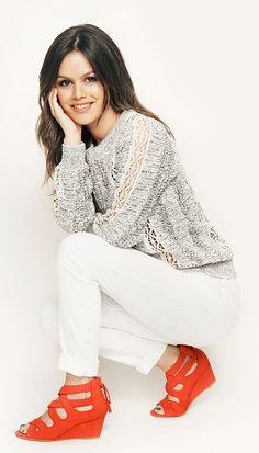 #Rachael #Bilson in #Coral #Jill #Wedge #Heels <3 #Love this #Color!