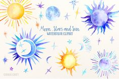 Watercolor Clipart Moon, Stars and Sun for instant download scrapbook watercolor cards wedding invitations by CornerCroft on Etsy https://www.etsy.com/listing/280425522/watercolor-clipart-moon-stars-and-sun