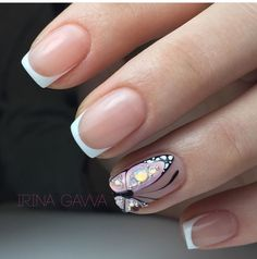 french nails with gold Wedding Manicure Butterfly Nail Designs, Butterfly Nail Art, Nail Art Designs, Nails Design, Butterfly Hair, Glam Nails, Cute Nails, Pretty Nails, Tribal Nails