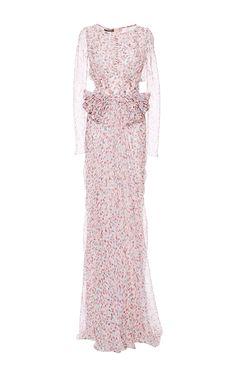 Watercolor Dot Chiffon Long Dress by Zac Posen for Preorder on Moda Operandi