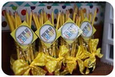 BOY Teacher Gift: I started off the week giving these pencil bouquets to my fabulous team! This way, in a week when all of the pencils have disappeared/been gnawed on/are lost they'll have a fresh set of already sharpened pencils!