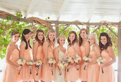 One of our most popular colors #Peach Fuzz in another beautiful real Donna Morgan #wedding