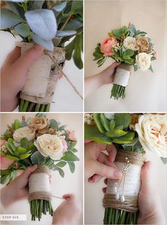 Cut a piece of twine about a yard long and put a dot of hot glue on the back of the stems above the birch bark to secure the end of the twine. Wrap the twine around the stems slightly covering the edge of the birch bark. Secure brooch or pin with hot glue gun and voila you have yourself a fake flower bridal bouquet.