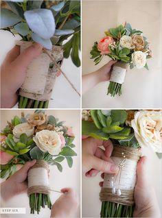 Fake flower vintage diy wedding bouquet