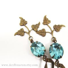 Items similar to Art Deco Earrings - Wedding Jewelry Bridal - Green Blue Mint Aqua Rhinestone - Brass Leaf on Etsy Art Deco Earrings, Leaf Earrings, Blue Gold, Blue Green, Jewellery Exhibition, Blue Sapphire, Wedding Jewelry, Turquoise Bracelet, Aqua