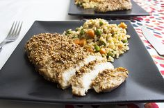 Sesame Crusted Chicken with fried rice