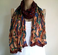Women's Scarves, Boho Scarves, Fabric Scarves, Authentic, Brown, Long Scarf, Cotton Scarves, Women's Clothing, Women's Accessories by MimosaKnitting on Etsy