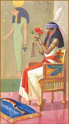 The Queen of Swords from the Rameses: Tarot of Eternity deck. I think this is one of my favouriites in the deck since the queen actually looks Egyptian and rather reminds me of Tiye. The painting of Sekhmet on the wall and the red hibiscus flower also helps.