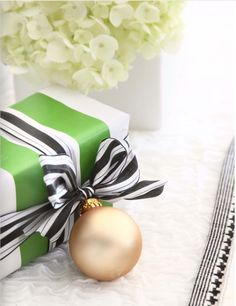 wide ribbon and an ornament - so simple! Could add name to ornament