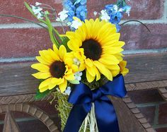 Sunflower Wedding, Pew Cones, Sunflower Pew Bows, Blue and Yellow Wedding, Rustic Pew Bows, Aisle Decor, Last 4, READY TO SHIP-Sale