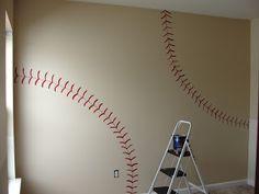 Baseball wall - cute for a little boy or a man cave