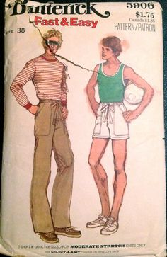 5e19501d3c0 Butterick 5906 1970s Mens Tank Top T Shirt Drawstring Pants and Shorts  Pattern Fast and EASY Adult Vintage Sewing Pattern Chest 44
