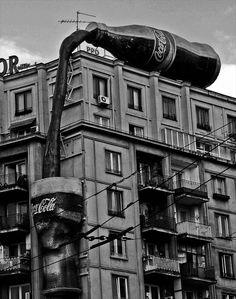 Coca Cola building advertisement