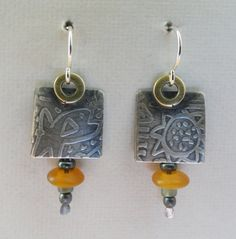Sterling Silver Brass and Horn Earrings. by gailheftimetalsmith $55.