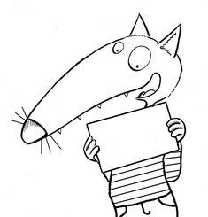 loup-etiquette-cahier Wolf, Coloring For Kids, Smurfs, Alphabet, Crafts For Kids, Symbols, Animation, Letters, School
