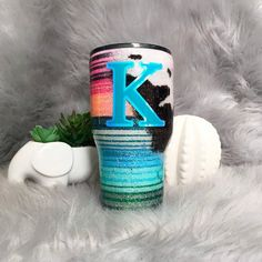 cow print and serape glitter tumbler- colorful stripped cup- mexican blanket pattern- ombre stripe- glitter cowhide- country- cowgirl Vinyl Tumblers, Personalized Tumblers, Custom Tumblers, Glitter Cups, Glitter Paint, Glitter Balloons, Glitter Tumblers, Acrylic Tumblers, Silver Glitter