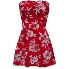 Hollister Co Lake Hodges Dress (19 AUD) ❤ liked on Polyvore featuring dresses, vestidos, red, casual dresses, floral-print dresses, cotton dresses, vintage day dress, red cotton dress and vintage dresses