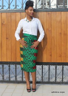 Ankara Pencil Skirt by AdinkraExpo  ~African fashion, Ankara, kitenge, African women dresses, African prints, Braids, Nigerian wedding, Ghanaian fashion, African wedding ~DKK
