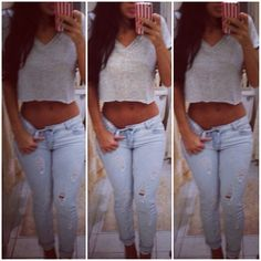 Spring Outfit: grey v neck crop top tee and light ripped jeans