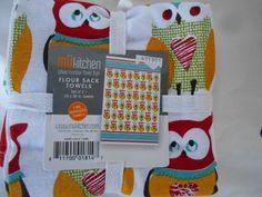 Owls  Kitchen Flour Sack Towels 2 Pc Set 100% Cotton  Owls and Hearts Home Decor #MUkitchen