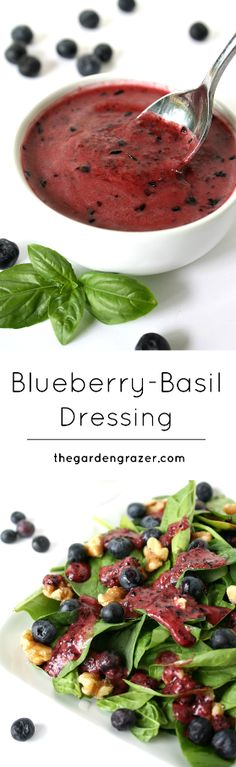 Blueberry Basil Dressing in Spinach Salad -Hellooo antioxidants! Love the rich color of this tangy-sweet blueberry dressing with basil vegan, gluten-free. Salad Dressing Recipes, Salad Recipes, Salad Dressings, Vegan Dressings, Think Food, Food For Thought, Vegetarian Recipes, Cooking Recipes, Healthy Recipes