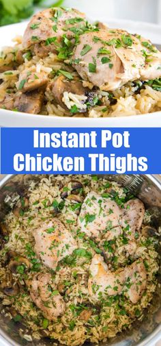 Instant Pot Chicken Thighs - make a complete dinner in the pressure cooker in just minutes! The chicken stays juicy and tender and full of flavor. Best Instant Pot Recipe, Instant Pot Dinner Recipes, Delicious Dinner Recipes, Appetizer Recipes, Soup Recipes, Turkey Recipes, Yummy Recipes, Yummy Food, Instant Pot Pressure Cooker