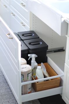 My IKEA Sektion Kitchen! – Jillian Harris Not sure…. Maybe having 2 drawers vs just I'm envisioning throwing stuff in the compost or garbage while I'm at the sink and this would be awkward – Jillian Harris Ikea Sektion Kitchen Ikea Kitchen Drawer Organization, Ikea Kitchen Drawers, Ikea Drawers, Under Sink Organization, Ikea Kitchen Cabinets, Sink Organizer, Ikea Storage, Cupboard Storage, Ikea Kitchens