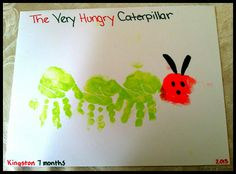 h- This is a neat little handprint craft go go along sixth The Very Hungry Caterpillar book. A fun way to connect the readings about animal growth and change to son art lesson in the classroom Caterpillar Book, Very Hungry Caterpillar, Toddler Art, Toddler Crafts, Toddler Learning, Early Learning, Daycare Crafts, Preschool Activities, Book Activities